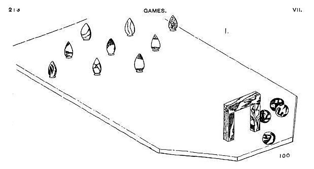 1895 - Skittles bowling game - Naqada, Egypt - 1895 archeologist drawing