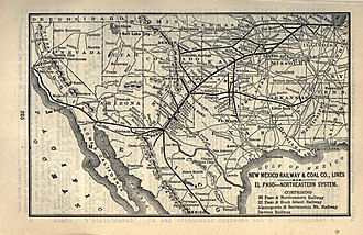 El Paso and Northeastern Railway - the New Mexico Railway and Coal Company's 1903 network and connecting lines