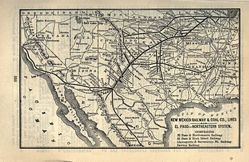 An old map on an aged leaf of paper taken from a book uses a mildly distorted projection of the southwestern United States to highlight certain routes between labeled destinations. The four railways of the New Mexico Railway and Coal Company are the boldest lines, connecting railways are less bold.