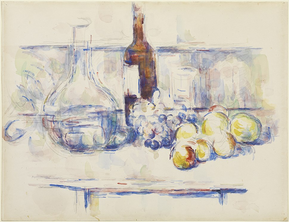 1906, C%C3%A9zanne, Still Life with Carafe, Bottle, and Fruit