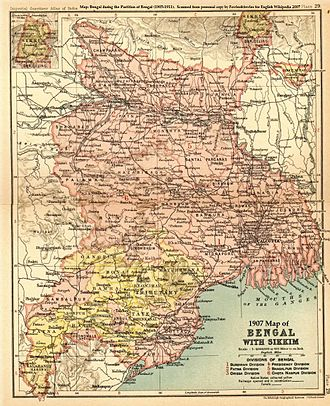 Malda district - 1907 Map of Bengal with Sikkim