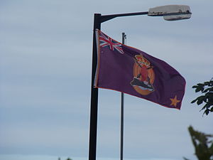 Larne gun-running - A 100th anniversary flag commemorating the gun running flying in Glenarm.