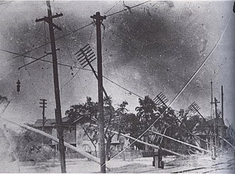 1915 New Orleans hurricane - A series of downed utility poles
