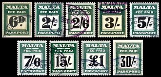 Revenue stamps of Malta - Passport stamps issued between 1933 and 1962