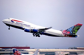 British Airways ethnic liveries - Former PM Margaret Thatcher covered the tailfin of a model 747 painted with Animals and Trees like this one.