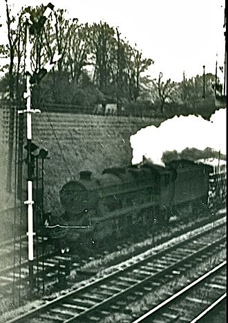 Manchester, Buxton, Matlock and Midland Junction Railway - A cement train running west towards Chinley in 1964