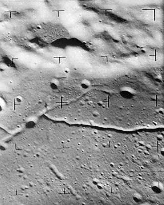Alphonsus (crater) - Ranger 9 image showing rilles on the floor of the crater