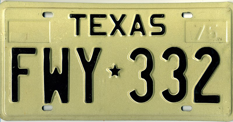 File:1975 Texas license plate FWY*332.jpg