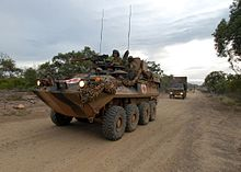 2-14th Light Horse Regiment ASLAV and trucks during exercise Talisman Sabre 2007.jpg