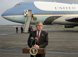 2004 Osama bin Laden video - George W. Bush delivered a short statement to the media in front of Air Force One at Toledo, Ohio Express Airport, hours after the tape was broadcast