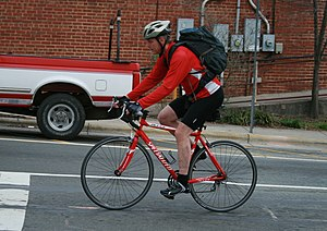A cyclist on S Greensboro St in Carrboro, Nort...