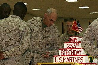 United States Marine Corps birthday - Image: 2008 Marine Corps Birthday Cake MNF West 081110 M 8941H 001
