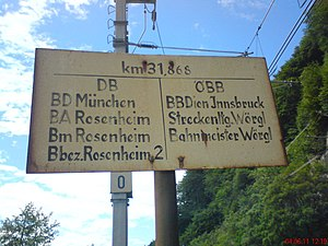 Rosenheim–Kufstein railway - Signpost at the Austrian border