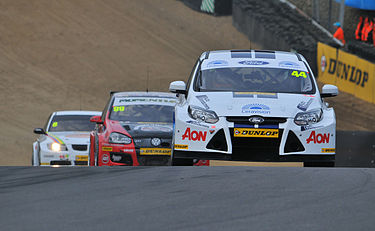 Touring Cars at a BTCC during race at Brands Hatch, April 2011 2011 BTCC Brands Hatch Neate, Onslow-Cole and Collard.jpg