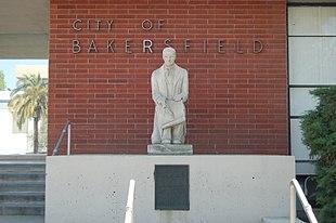 2011 Bakersfield City Hall Baker Statue.JPG