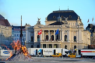 Opernhauskrawalle - Burning of the so-called Böögg on occasion of Sechseläuten in 2013, not the youth protests but the same site at Sechseläutenplatz.