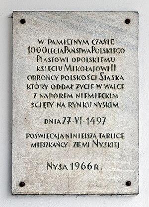 Nicholas II of Niemodlin - Plaque in honor of Nicholas II in Nysa