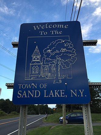 Sand Lake, New York - Sign at the west entrance to Sand Lake