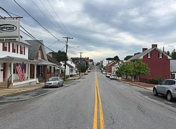 2016-07-28 17 05 54 View south along Maryland State Route 66 (Water Street) at Pennsylvania Avenue in Smithsburg, Washington County, Maryland.jpg