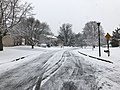 2018-03-21 10 14 16 View southwest along a snow-covered Allness Lane (Virginia State Route 6652) at Dairy Lou Drive (Virginia State Route 6843) in the Franklin Farm section of Oak Hill, Fairfax County, Virginia.jpg