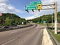 2019-05-17 17 34 51 View east along Interstate 68 and U.S. Route 40 and north along U.S. Route 220 (National Freeway) at Exit 43D (Maryland Avenue) in Cumberland, Allegany County, Maryland.jpg