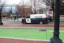 A Metro Transit Police Department van waits outside the Arthur M. Sackler Gallery at 11:28 a.m. on January 6.