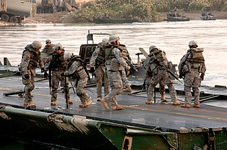 20th Engineer Brigade (United States) - 20th Engineer Brigade soldiers construct a bridge in the Euphrates River.