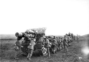 21 cm Mörser 16 - Moving into action, Ham, March 1918