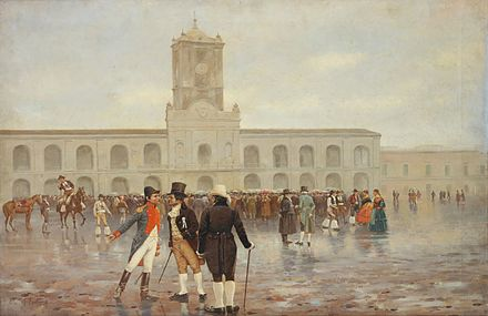 People gathered in front of the Buenos Aires Cabildo during the May Revolution 25 de mayo por F. Fortuny.jpg