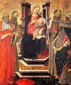 27 Botticini Madonna con Bambino in trono tra san Girolamo, san Francesco d'Assisi, sant'Antonio da Padova e san Ludovico di Tolosa. 157x133, 1490-98, Prato, Museo Civico.jpg