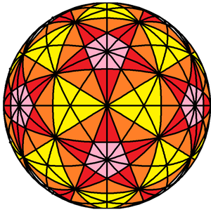 31 great circles of the spherical icosahedron - Image: 31 great circles colored triangles