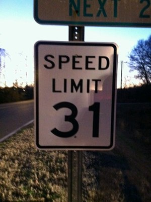 Trenton, Tennessee - A 31 mph speed limit sign in Trenton