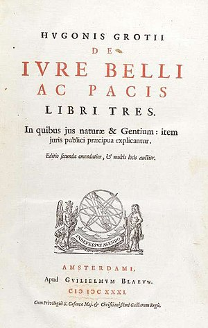 De jure belli ac pacis - De jure belli ac pacis, title page from the second edition of 1631.