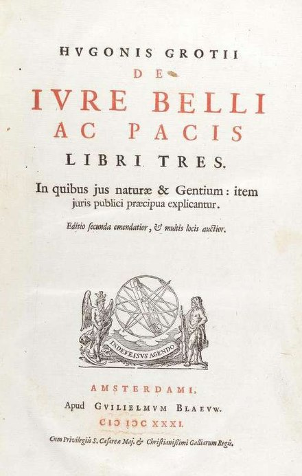 Title page from the second edition (Amsterdam 1631) of De jure belli ac pacis