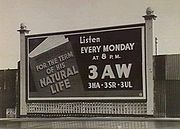 1940's 3AW billboard advertising For the Term of his Natural Life in Melbourne