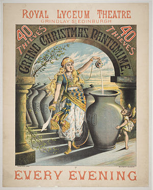 Ali Baba - Poster for 40 Thieves at the Royal Lyceum Theatre, Edinburgh, 1886