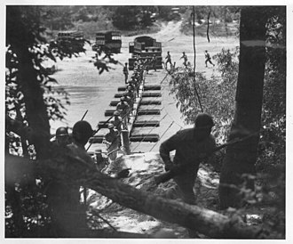 442nd Infantry Regiment (United States) - The 442nd in training: building then attacking across a pontoon bridge at Camp Shelby