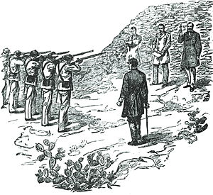 Concepción Lombardo - From left to right, execution of the generals Miguel Miramon and Tomas Mejia. On the far right is the Emperor Maximilian, who gave the center, place of honor at Miramon.