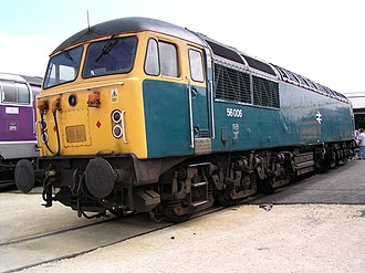 British Rail Class 56 - Electroputere-built 56 006 at Doncaster in 2003 painted in rail blue livery