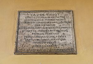 Samuel-Auguste Tissot - Plaque honouring Tissot at the University of Pavia (Italy)