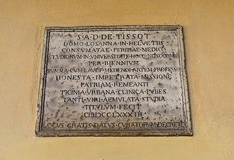 Samuel-Auguste Tissot - Plaque honouring Tissot at the University of Pavia (Italy)