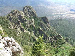 Sandia Mountains - View from Sandia Peak, looking southwest