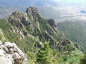Sandia Mountains - View from Sandia Peak, looking southwest