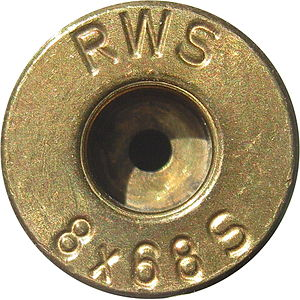 Headstamp - RWS headstamp on a 8×68mm S rifle cartridge