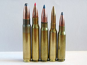 9.3×62mm - From left to right 9.3×62mm, .30-06 Springfield, 7.92×57mm Mauser, 6.5×55mm and .308 Winchester cartridges.