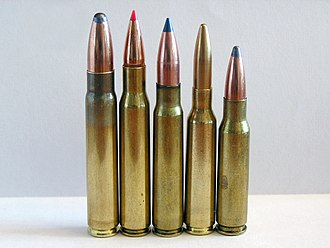 .308 Winchester - From left to right 9.3×62mm, .30-06 Springfield, 7.92×57mm Mauser, 6.5×55mm and .308 Winchester cartridges.  The 7.62×51mm NATO (not pictured) is similar in appearance to the .308 Winchester.