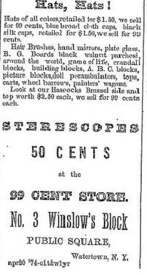 Jesse Armour Crandall - 99 Cent Store advertisement including Crandall blocks