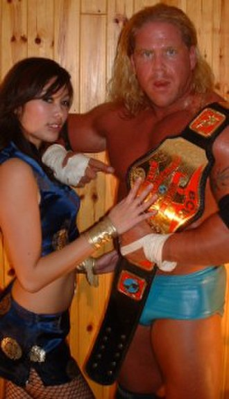 A-1 (wrestler) - A-1 (right) with valet Jade Chung after capturing the BCW Can-Am Heavyweight Championship on December 12, 2004.