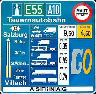 Tauern Autobahn - A10 toll sign at Rennweg (2005)