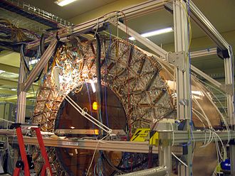 ATLAS experiment - The ATLAS TRT (Transition Radiation Tracker) central section, the outermost part of the Inner Detector, assembled above ground and taking data from cosmic rays in September 2005